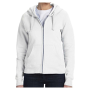 Hanes Ladies' 8 oz. 80/20 ComfortBlend EcoSmart Full-Zip Hood - White