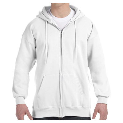 Hanes 10 oz. Ultimate Cotton 90/10 Full-Zip Hood - White