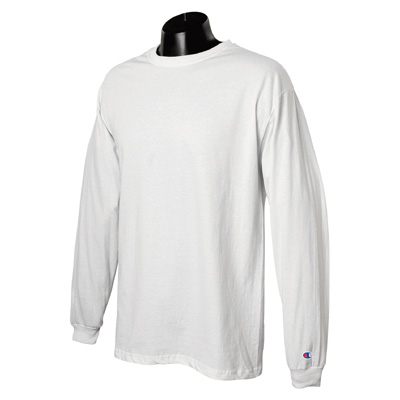 Champion 5.2 oz. Long-Sleeve Tagless T-Shirt - White