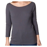 American Apparel Sheer Jersey 3/4 Sleeve Boat Neck