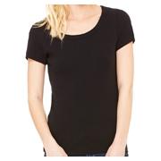 Bella + Canvas Ladies' Stretch Rib Short-Sleeve Scoop Neck T-Shirt