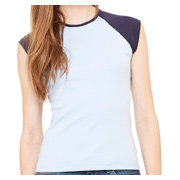 Bella + Canvas Ladies' Baby Rib Cap-Sleeve Contrast Raglan T-Shirt