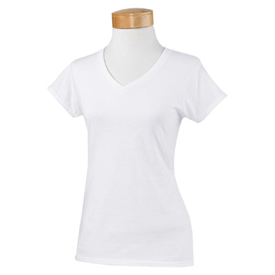 Gildan Ladies' 4.5 oz. SoftStyle Junior Fit V-Neck T-Shirt - White