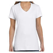 Hanes Ladies' 4.5 oz. 100% Ringspun Cotton nano-T V-Neck T-Shirt - White
