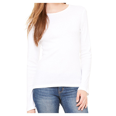 Bella Ladies' Baby Rib Long-Sleeve T-Shirt - White