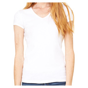 Bella Ladies' 1x1 Baby Rib Short-Sleeve V-Neck T-Shirt - White