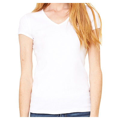 Bella + Canvas Ladies' Baby Rib Short-Sleeve V-Neck T-Shirt - White