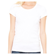 Bella Ladies' 1x1 Baby Rib Short-Sleeve Scoop Neck T-Shirt - White