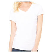 Bella + Canvas Ladies' Jersey Short-Sleeve V-Neck T-Shirt - White