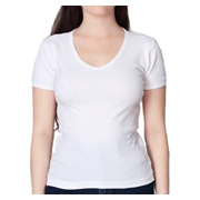 American Apparel Baby Rib Short Sleeve V-Neck - White