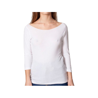 American Apparel Sheer Jersey 3/4 Sleeve Boat Neck - White
