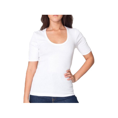 American Apparel Baby Rib 1/2 Sleeve U-Neck T - White