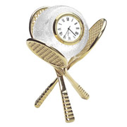 Crystal Tennis Clock With Gold Plated Raquet Stand