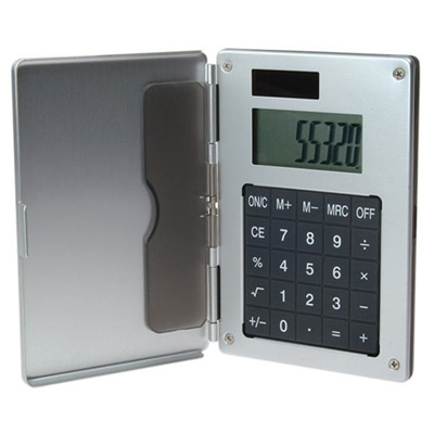 Aluminum Card Case With Solar Calculator