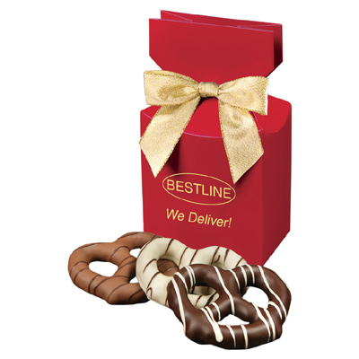Chocolate Dipped Pretzels - Red Box