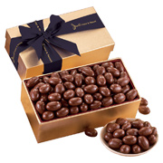 Gold Gift Box With Milk Chocolate Covered Almonds