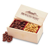 Wooden Collector's Box With Milk Chocolate Almonds and Jumbo Cashews