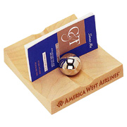 Maple Business Card Holder With 2 Iron Balls
