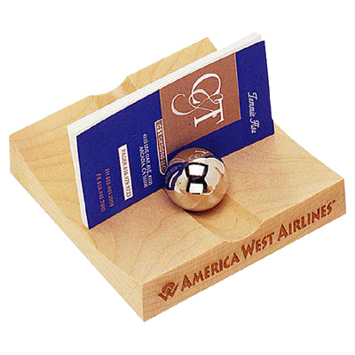 Maple Business Card Holder With 2 Chrome Balls