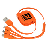 3-in-1 Retractable Noodle Cable With Type C USB
