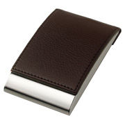 Leatherette Metal Card Case With Magnetic Lid - Flip Open