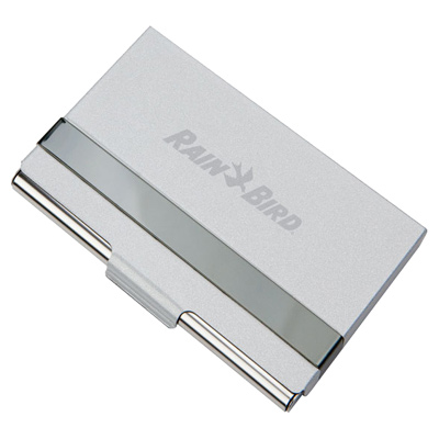 Matte Silver Metal Card Case With Silver Strip