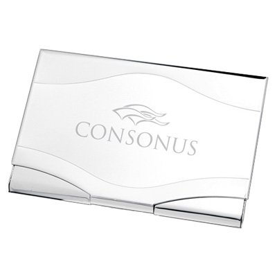 Wave Shaped Two Tone Silver Metal Business Card Case
