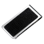 PVC Snake Skin Pattern Chrome Plated Metal Money Clip