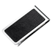 Genuine Leather Chrome Plated Metal Money Clip