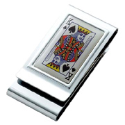King of Spades Chrome Plated Two Sided Money Clip