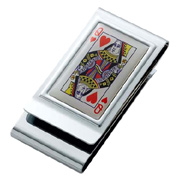 Queen of Hearts Chrome Plated Two Sided Money Clip
