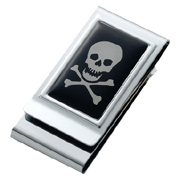 Skull & Bones Chrome Plated Two Sided Money Clip