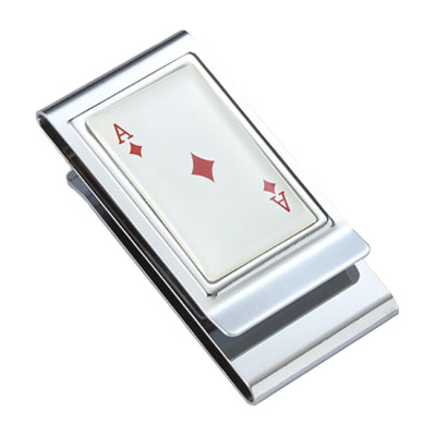 Ace of Diamonds Stainless Steel Chrome Plated Two Sided Money Clip