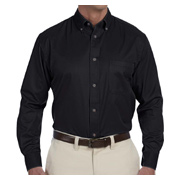 Harriton Men's Easy Blend Long-Sleeve Twill Shirt With Stain-Release