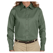 Harriton Ladies' Easy Blend Long-Sleeve Twill Shirt With Stain-Release