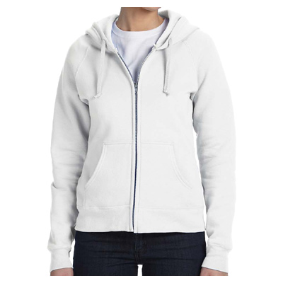 Hanes Ladies' 8 oz. 80/20 ComfortBlend EcoSmart Full-Zip Hood - White