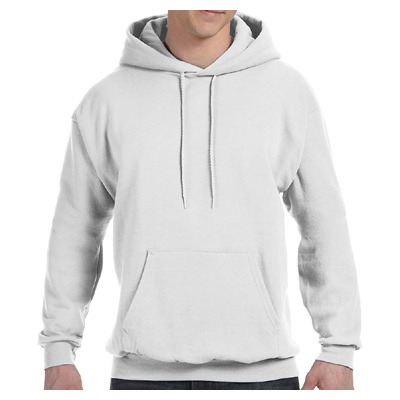 Hanes Adult 7.8 oz. EcoSmart 50/50 Pullover Hood - White
