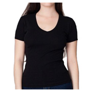 American Apparel Baby Rib Short Sleeve V-Neck