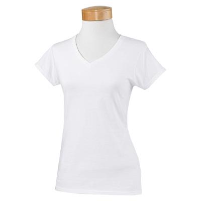 Gildan Ladies' 4.5 oz. SoftStyle Junior Fit V-Neck T-Shirt - White