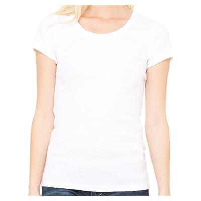Bella + Canvas Ladies' Baby Rib Short-Sleeve Scoop Neck T-Shirt - White