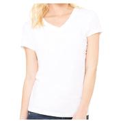 Bella + Canvas Ladies' Jersey Short-Sleeve V-Neck T-Shirt - White