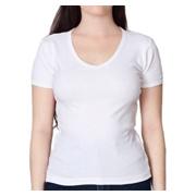 American Apparel Baby Rib Short Sleeve V-Neck - White