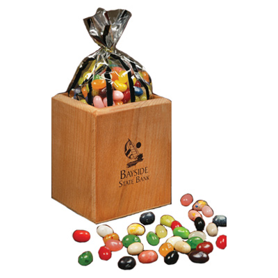 Hardwood Pen and Pencil Cup With Jelly Belly Jelly Beans