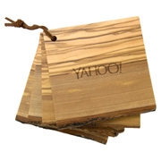 4 Piece Natural Wood Coaster Set