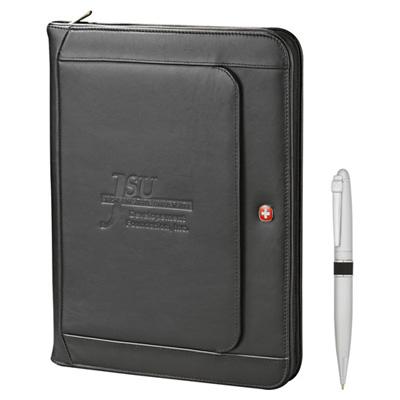 Wenger Executive Leather Zippered Padfolio Bundle Set