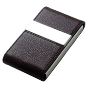 Leatherette Metal Card Case With Double Magnetic Flap