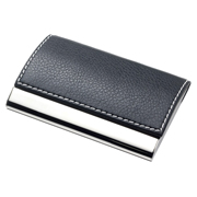 Leatherette Metal Card Case With White Stitching and Magnetic Lid