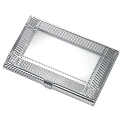 Deco Trimmed Silver Card Case