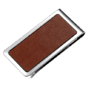 Genuine Leather Silver Stainless Steel Money Clip