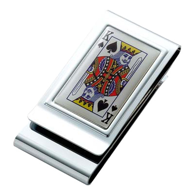 King of Spades Epoxy Stainless Steel Chrome Plated Two Sided Money Clip